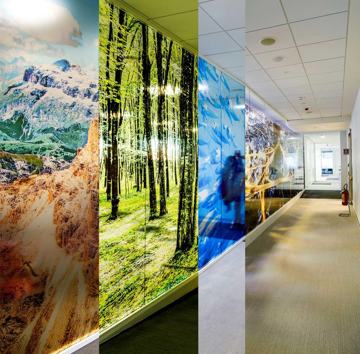 paesaggi sulle pareti dei workplace ENGIE a Milano